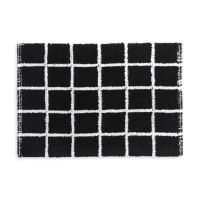 Landon Reversible Bath Rug Set In Black White