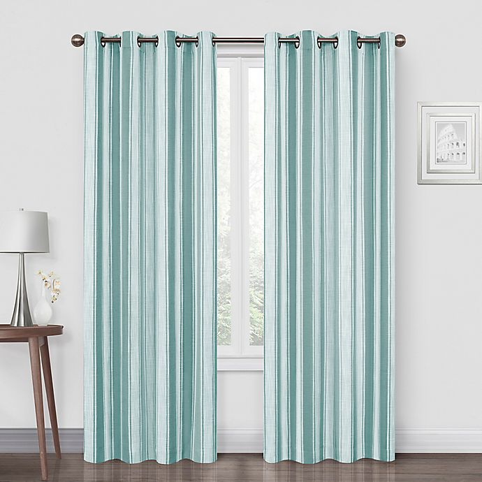 Alternate image 1 for Quinn Stripe Grommet Blackout Window Curtain Panel