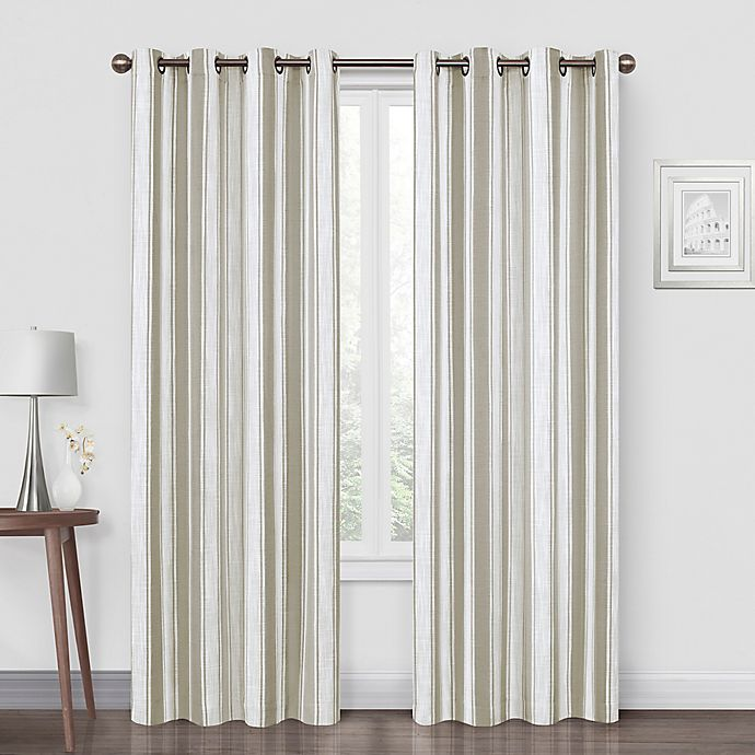 Alternate image 1 for Quinn Stripe 84-Inch Grommet Blackout Window Curtain Panel in Natural
