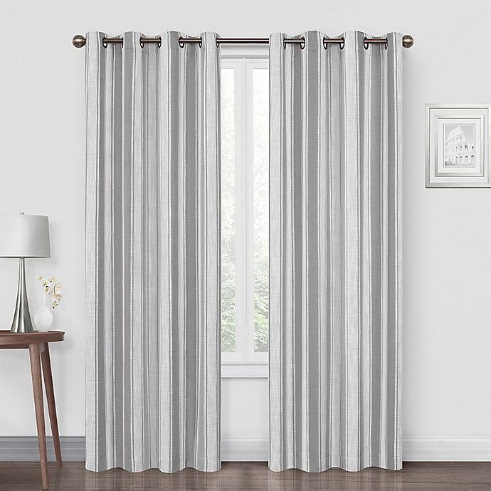 Alternate image 1 for Quinn Stripe 108-Inch Grommet Blackout Window Curtain Panel in Grey