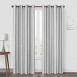Quinn Stripe 108-Inch Grommet Blackout Window Curtain Panel in Grey