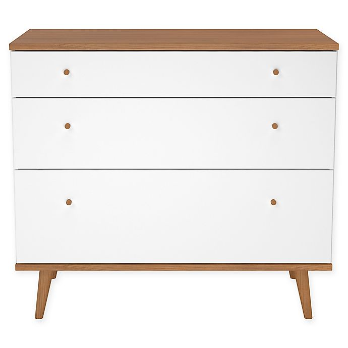 Mid Century 3 Drawer Dresser In White
