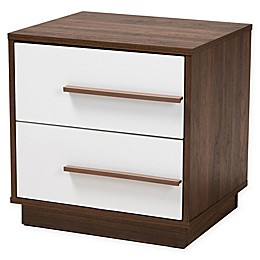 Baxton Studio Thorley Two-Tone Finished 2-Drawer Wood Nightstand in Brown/White
