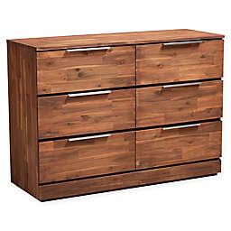 Baxton Studio Evander 6-Drawer Wood Dresser in Caramel Brown