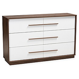 Baxton Studio Thorley Finished 6-Drawer Wood Dresser in White/Walnut