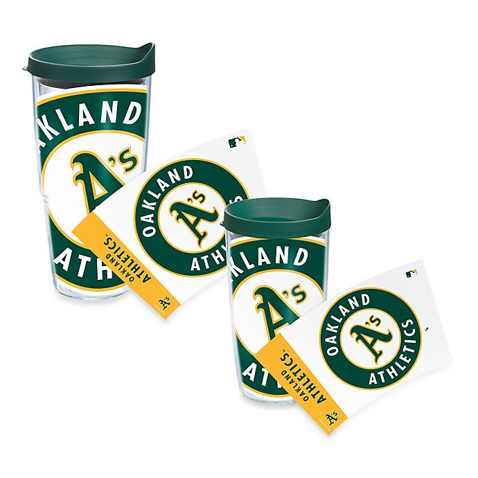 Alternate image 1 for Tervis® Oakland A's Wrap Tumbler with Green Lid