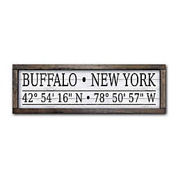 Buffalo, New York 28-Inch x 9-Inch Coordinates Sign Wall Art