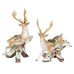 Fitz and Floyd® Forest Frost Leaping Deer Candle Holders (Set of 2)