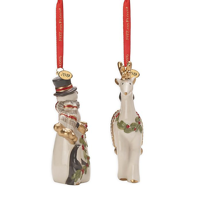 Alternate image 1 for Fitz and Floyd® Mistletoe Merriment Bell and Ornament Dated 2019 (Set of 2)