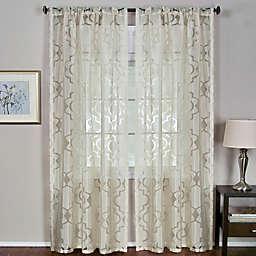 Elrene Montego Burnout Trellis Sheer Rod Pocket Window Curtain Panel