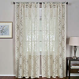 Elrene Montego Burnout Trellis Sheer Rod Pocket Window Curtain Panel