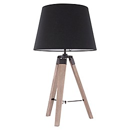 LumiSource Compass Table Lamp in Black with Parchment Shade