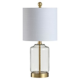 JONATHAN Y Duncan LED Table Lamp in Brass Gold with Linen Shade