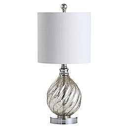 JONATHAN Y Lawrence LED Table Lamp in Mercury Silver with Linen Shade