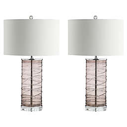 JONATHAN Y Cole Modern Fused Cylinder LED Table Lamp in Clear with White Linen Shade