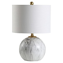 JONATHAN Y Luna LED Table Lamp in White with Linen Shade