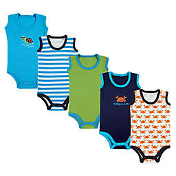 Luvable Friends® Size 12-18M 5-Pack Crab Sleeveless Toddler Bodysuits in Green