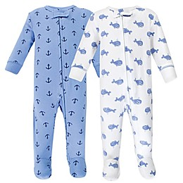Hudson Baby® Preemie 2-Pack Whales Footies in Blue/White