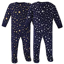 Hudson Baby® Preemie 2-Pack Metallic Stars Footies in Blue