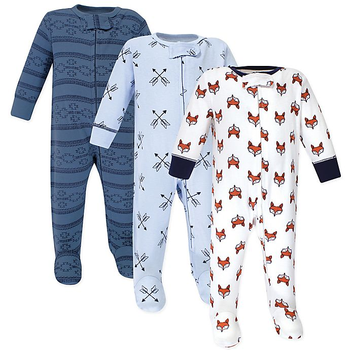 Alternate image 1 for Yoga Sprout® 3-Pack Fox Footies in Blue