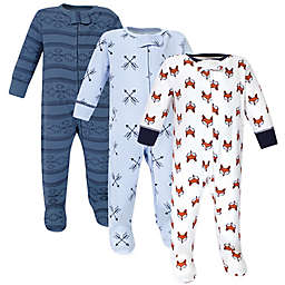 Yoga Sprout® 3-Pack Fox Footies in Blue