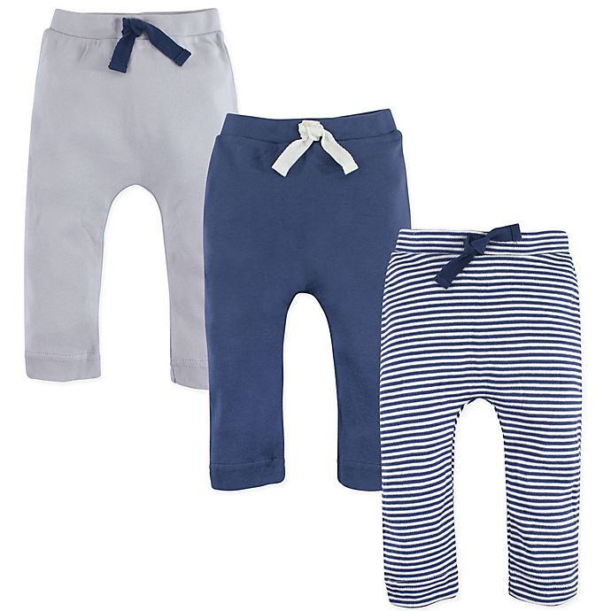 Alternate image 1 for Touched by Nature Size 9-12M 3-Pack Organic Cotton Pants in Blue/Cream