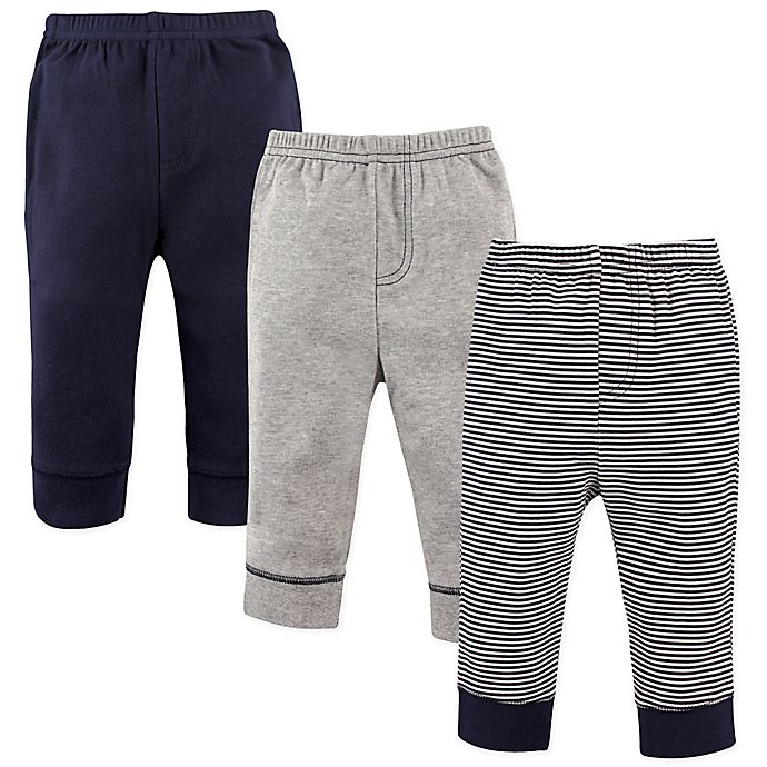 Alternate image 1 for Luvable Friends® Size 9-12M 3-Pack Tapered Ankle Pants in Navy