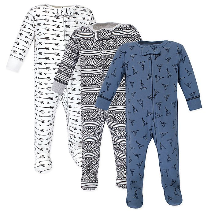 Alternate image 1 for Yoga Sprout 3-Pack Teepee Sleep 'N Play Footed Pajamas in Blue
