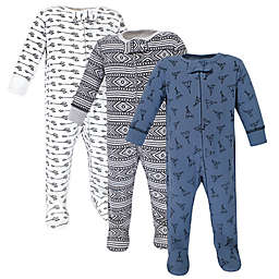 Yoga Sprout 3-Pack Teepee Sleep 'N Play Footed Pajamas in Blue