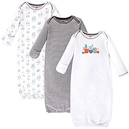 Touched by Nature Size 0-6M 3-Pack Cactus Organic Cotton Gowns in White