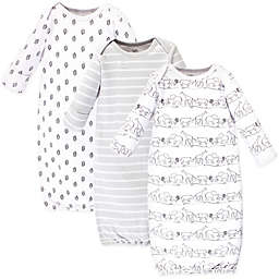 Touched by Nature Size 0-6M 3-Pack Safari Organic Cotton Gowns in Grey