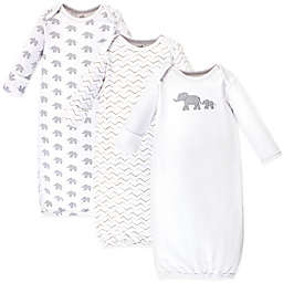 Touched by Nature Size 0-6M 3-Pack Marching Elephants Organic Cotton Gowns in White