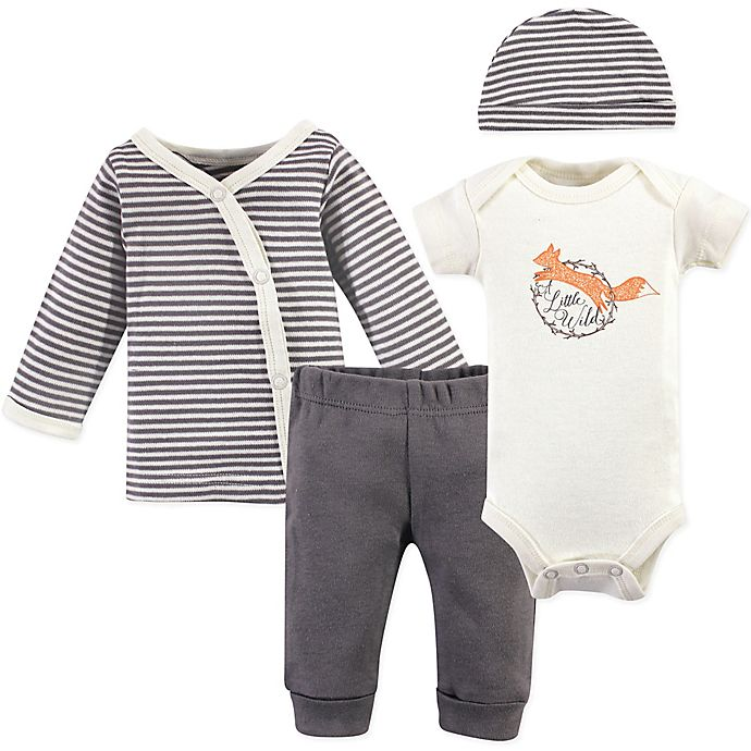 Alternate image 1 for Touched by Nature® Preemie 4-Piece Fox Organic Cotton Layette Set in Grey