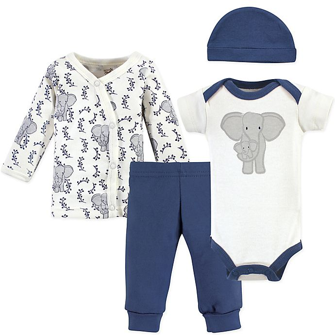 Alternate image 1 for Touched by Nature® Preemie 4-Piece Elephant Organic Cotton Layette Set in Blue