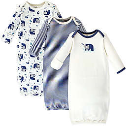 Touched by Nature Size 0-6M 4-Pack Woodland Organic Cotton Gowns in Navy