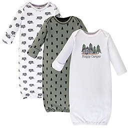 """Touched by Nature® Size 0-6M 3-Pack """"Happy Camper"""" Organic Cotton Gowns in Green"""