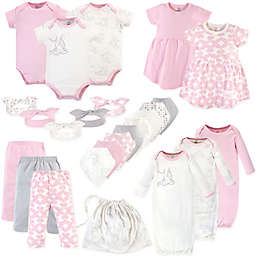Touched by Nature Size 0-6M 25-Piece Organic Cotton Bird Layette Set in Pink/White