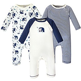 Touched by Nature 3-Pack Woodland Organic Cotton Coveralls in Blue