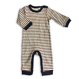 Modern Baby Stripe Coverall in Burgundy