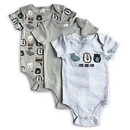 Modern Baby 3-Pack Animals Bodysuits in Grey