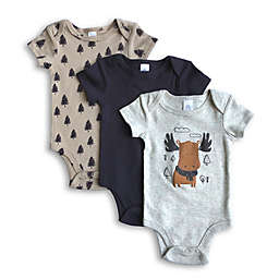 Modern Baby 3-Pack Moose Short Sleeve Bodysuits