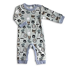 Modern Baby Animals Coverall in Grey