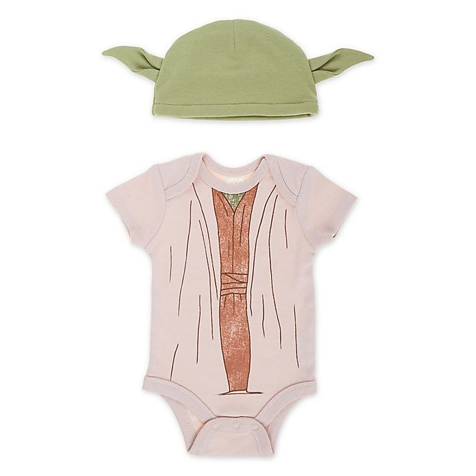 Alternate image 1 for Lucas™ Size 6-9M 2-Piece Yoda Bodysuit and Hat Set