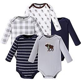 Hudson Baby® 5-Pack Moose Long Sleeve Bodysuits in Grey