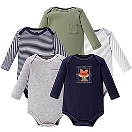 Hudson Baby® 5-Pack Mr. Fox Bodysuits in Navy