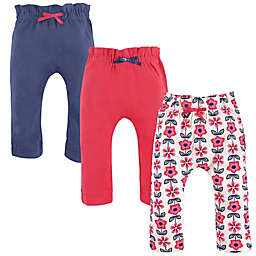 Touched by Nature 3-Pack Flower Organic Cotton Pants in Red/Blue