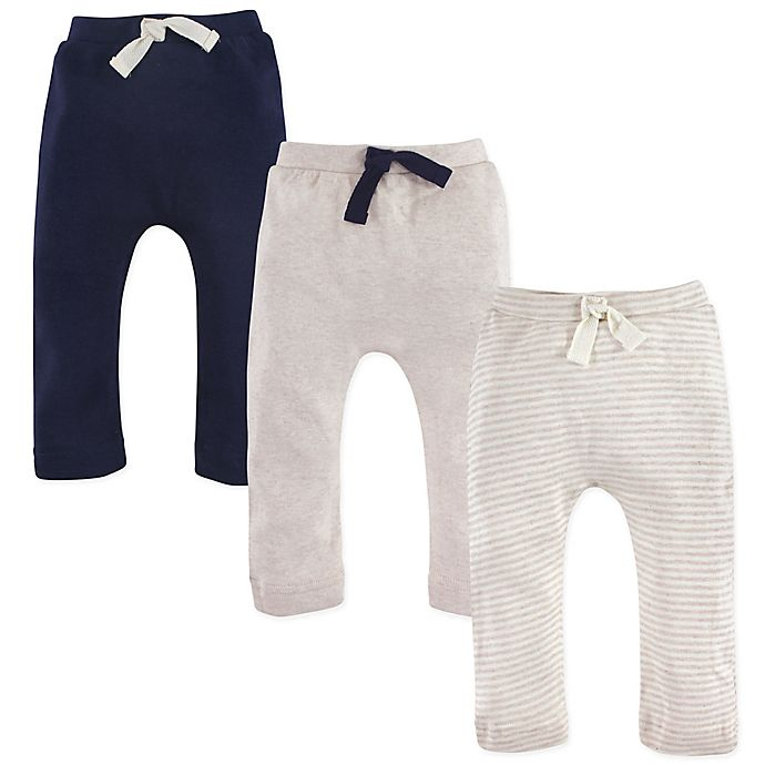 Alternate image 1 for Touched by Nature 3-Pack Organic Cotton Pants in Oatmeal/Navy