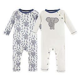 Touched by Nature 2-Pack Organic Cotton Elephant Coveralls in Grey/White