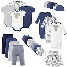 Touched by Nature Size 0-6M 25-Piece Organic Cotton Elephant Layette Set in Blue/White