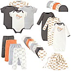Touched by Nature Size 0-6M 25-Piece Organic Cotton Fox Layette Set in Orange/White